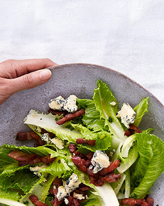 Dolce verde lettuce with hot bacon dressing, chives and crumbled stilton recipe