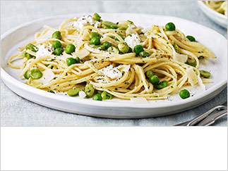 Linguine with crushed peas, broad beans and ricotta