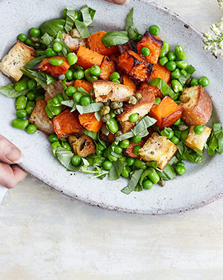 Broad bean, pea and roast squash panzanella with capers