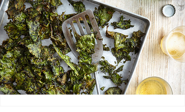 Roast kale crisps with cayenne and seaweed salt