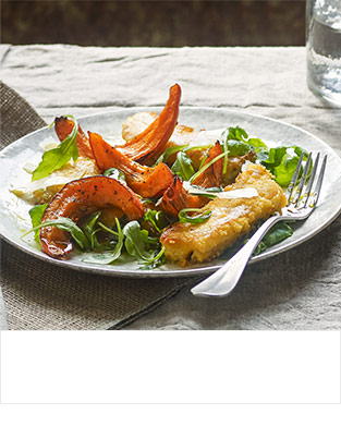 Roast squash wedges on crisp polenta