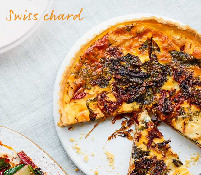 Chard, caramelised onion and goats' cheese tart