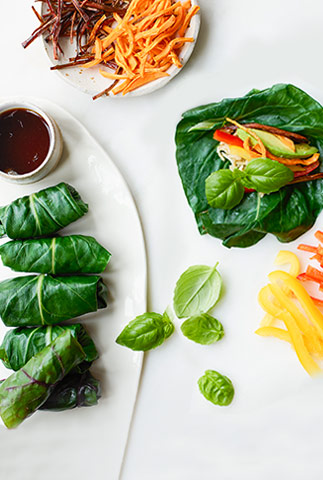 Swiss chard summer rolls