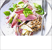 Diana Henry's smoked duck, pickled apples & spelt salad