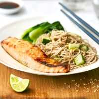Asian-style salmon with soba noodles and greens