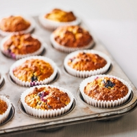 Banana, oat, almond & blueberry muffins