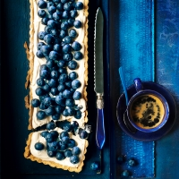 Blueberry, maple and pecan tart