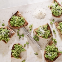Crushed peas and broad beans on toast