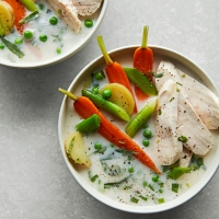 Chicken & spring veg in tarragon broth