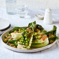Griddled pak choi with soya beans and toasted sesame butter
