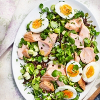 Smoked salmon lentil watercress salad