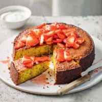 Orange pistachio cake with crushed black pepper strawberry compote