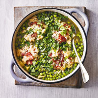 Pea & parsnip stew with bacon dumplings