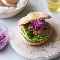 Pork burgers with beetroot and horseradish relish