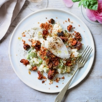 Potato salad with chorizo & duck egg