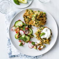 Prawn, pea and rice fritters with an Asian-style salad
