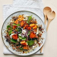 Roasted sweet potato and goats' cheese salad