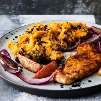 Smoky pork escalopes with sweet potato  & red bean mash & apple