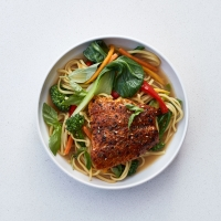 Speedy salmon and miso noodles
