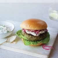 Veg burgers with quick pickled onions