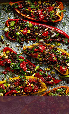 view Roasted Romano peppers with puy lentils recipe