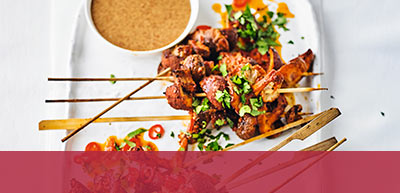 View Mushrooms skewers with satay sauce recipe