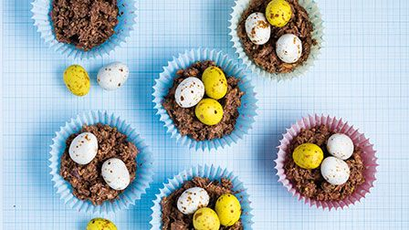 Nutty chocolate Easter nests