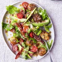 Avocado and BLT salad with roast new potatoes
