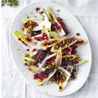 Baby chicory, beetroot, pistachio and pomegranate salad