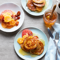 Buttermilk Scotch pancakes with citrus salad