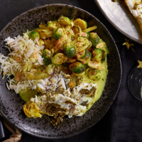 Charred brussels sprouts drizzled with kiri hodi