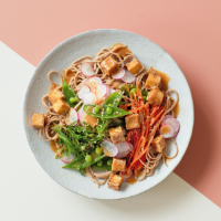 Fried tofu noodle salad with miso sesame dressing