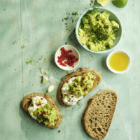 Crushed avocado, burrata & chilli on toast