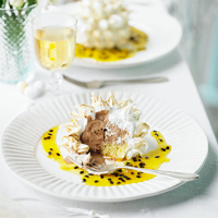 Dark chocolate and passionfruit baked alaska