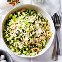 Dressed rice with sesame, pickled cucumber &  ginger salad
