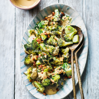 Elly Pear's roasted broccoli salad with miso dressing & smoked almonds