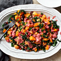 Warm squash, kale, berries and pecan salad