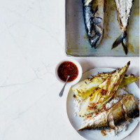 Grilled mackerel and charred cabbage with pink peppercorns
