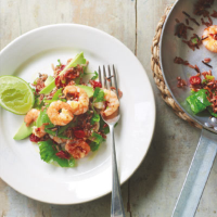 Prawns with red and wild rice