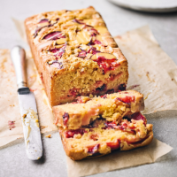 Plum & custard loaf cake
