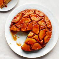 Pineapple, lime and coconut upside-down cake