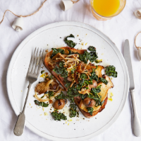 Pan-fried mushrooms, chestnuts and cavolo nero on sourdough
