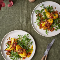 Roast squash wedges with sun-dried tomato and walnut dressing