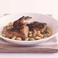Slow-roast pork belly with white beans