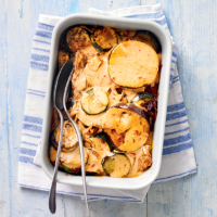 Spiced chicken & aubergine bake