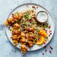 Spiced chicken skewers with couscous