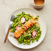 Salmon salad with citrus-miso dressing