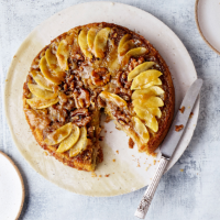 Upside-down apple, maple and walnut cake