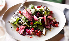 Venison salad with redcurrants and ginger