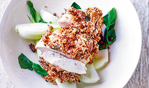 Soy-baked chicken with seed crust